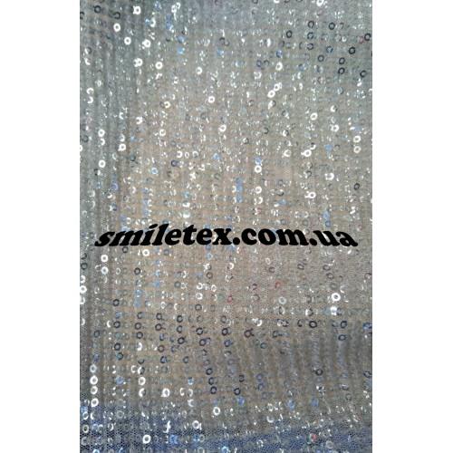 Пайетки на сетке плиссированные (Серебро)