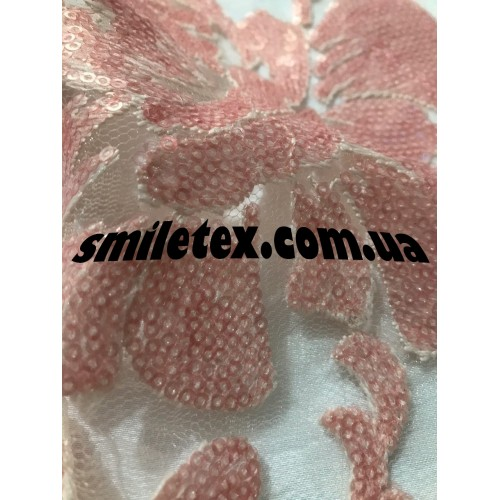 Ткань  Пайеточная Ткань (Цветы) 6417