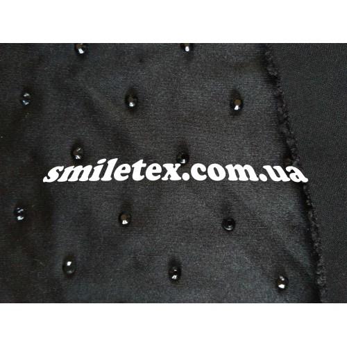 Ткань  Трикотаж Стразы (Черный с черным) 6047