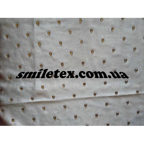Ткань  Трикотаж Стразы (Бежевый с золотым) 6051