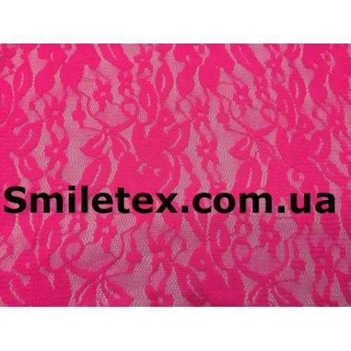 Гипюр Стрейч (Дешевый) Диз1. Цвет Ярко Розовый №8