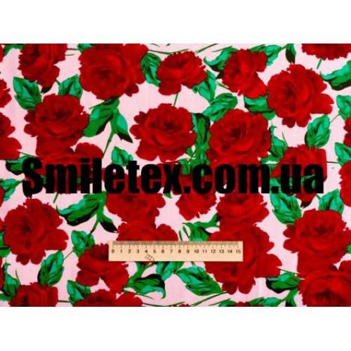 Стрейч Коттон Принт (Красный Цветок)
