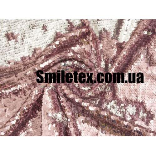 Пайеточная Ткань Двухсторонняя ( Розовый Серебро Глянцевая )