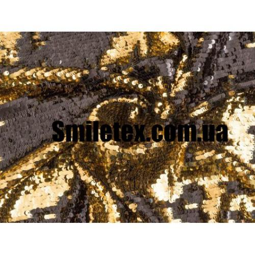 Пайеточная Ткань Двухсторонняя (Золото Чёрная Глянцевая )