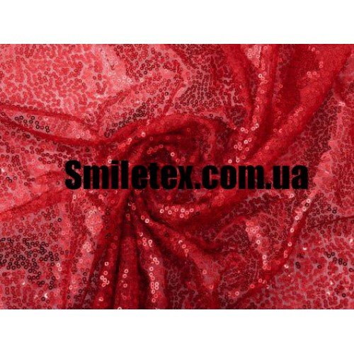 Пайеточная Ткань Густая (Красный)