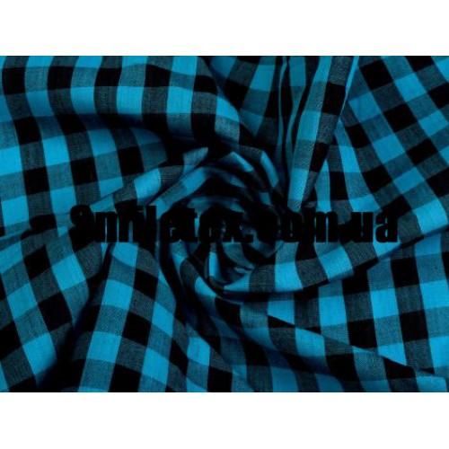 Рубашечная Клетка (Бирюза Голубой Чёрный 10мм)