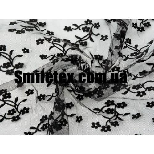 Стрейч Сетка Флок Дизайн Цветы (Чёрный)